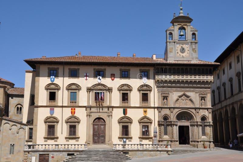 Les constructions historiques de la ville d'Arezzo image libre de droits