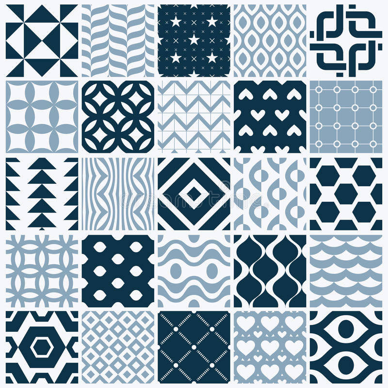 Les contextes sans couture noirs et blancs ornementaux de vecteur ont placé, geomet illustration stock