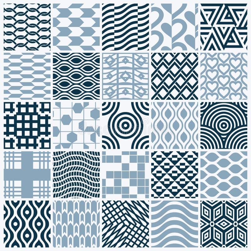 Les contextes sans couture noirs et blancs ornementaux de vecteur ont placé, geomet illustration de vecteur
