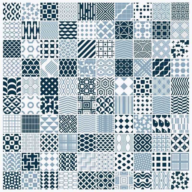 Les contextes sans couture noirs et blancs ornementaux de vecteur ont placé, 100 GEs illustration stock