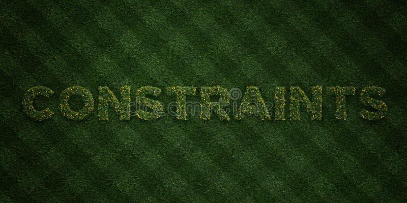 Les CONTRAINTES - lettres fraîches d'herbe avec des fleurs et des pissenlits - redevance rendue par 3D libèrent l'image courante illustration libre de droits