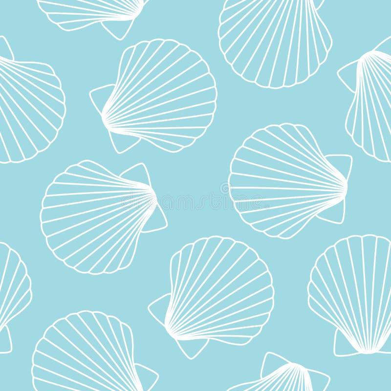 Les coquillages blancs sur la coquille bleue d'océan de mer de fond modèlent le seaml illustration de vecteur