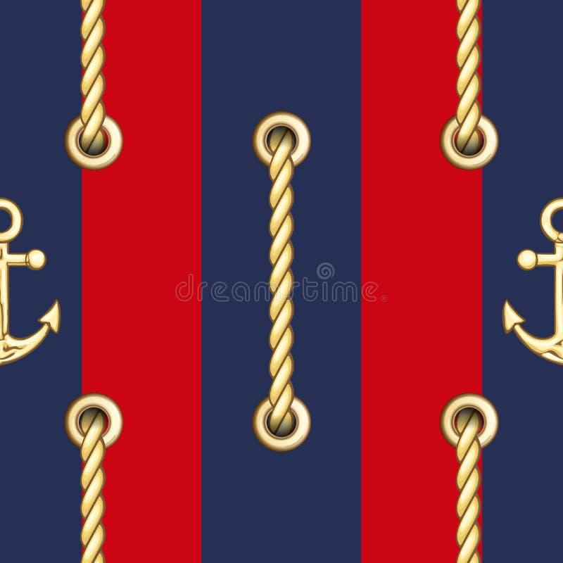 Les cordes verticales de Straped avec le m?tal d'or fournit des oeillets le mod?le sans couture illustration stock