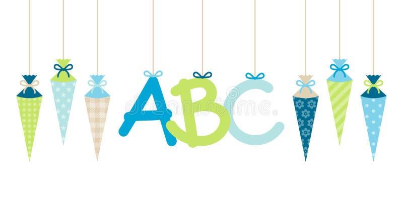 Les cornets accrochants droits garçon et ABC d'école de bannière marque avec des lettres le vert bleu illustration de vecteur