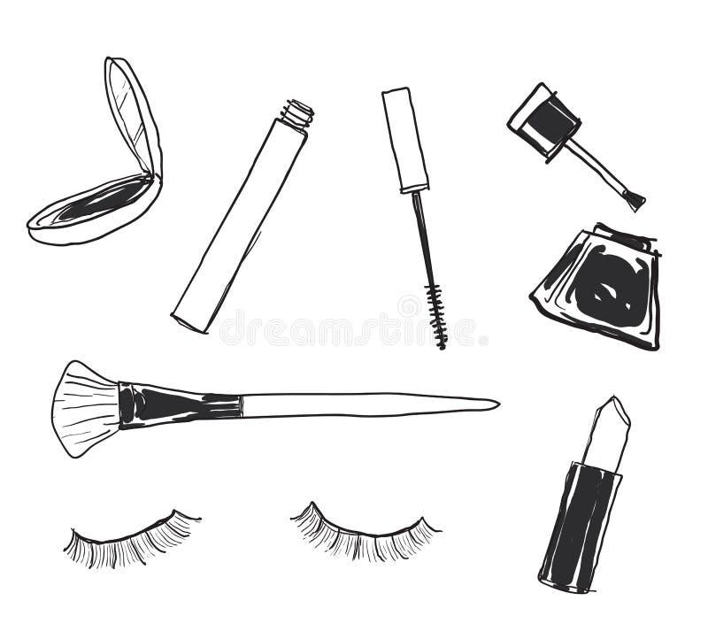Les cosmétiques assortis composent l'art tiré par la main mignon accessoire de vecteur illustration de vecteur