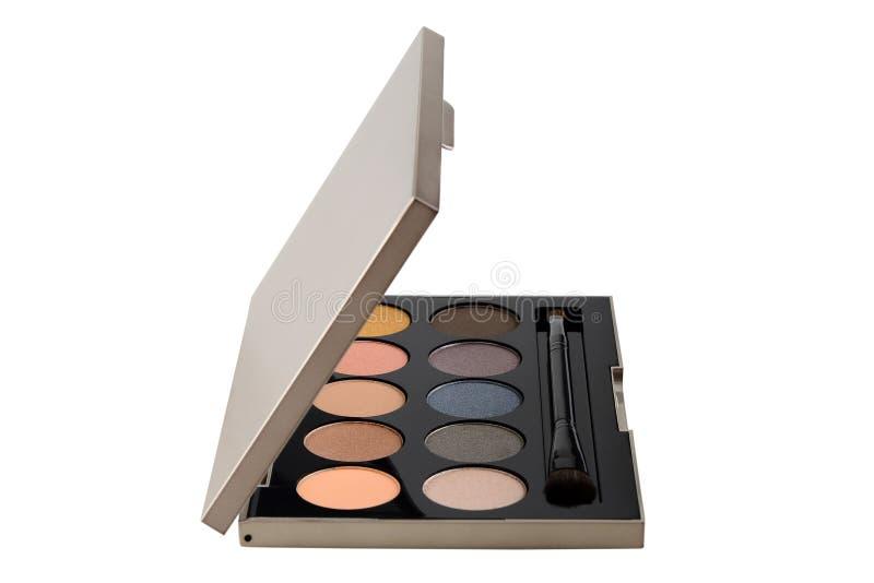 Les cosmétiques colorés de fard à paupières ont placé la beauté et la mode de maquillage sur le fond blanc image libre de droits