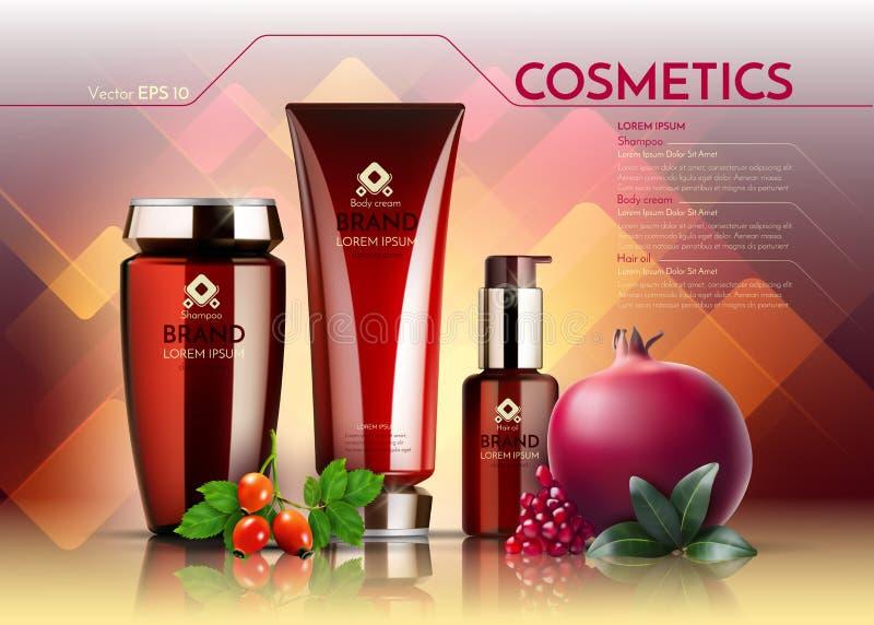 Les cosmétiques dirigent le calibre réaliste d'annonces de paquet Bouteilles de produits capillaires de crème et de visage Grenad illustration de vecteur