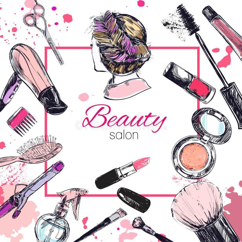 Les cosmétiques et la beauté dirigent le fond avec composent des objets d'artiste et de coiffure : rouge à lèvres, crème, brosse illustration de vecteur