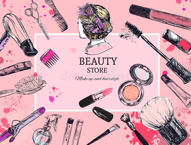 Les cosmétiques et la beauté dirigent le fond avec composent des objets d'artiste et de coiffure : rouge à lèvres, crème, brosse  illustration libre de droits