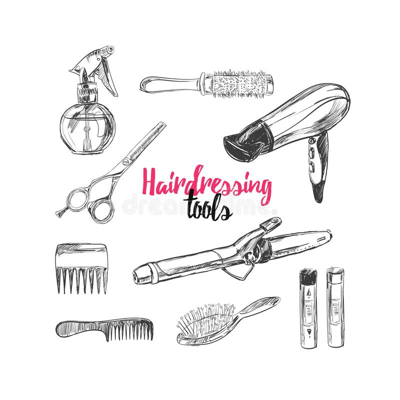 Les cosmétiques et le fond de beauté avec composent des objets d'artiste et de coiffure : rouge à lèvres, crème, brosse avec la p illustration stock