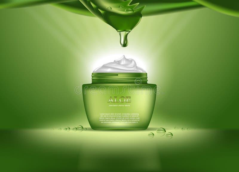 Les cosmétiques mettent en bouteille ou récipient avec de la crème de Vera d'aloès illustration libre de droits