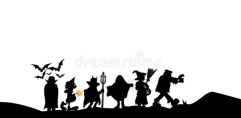 Les costumes de Halloween silhouettent sur le fond blanc illustration stock