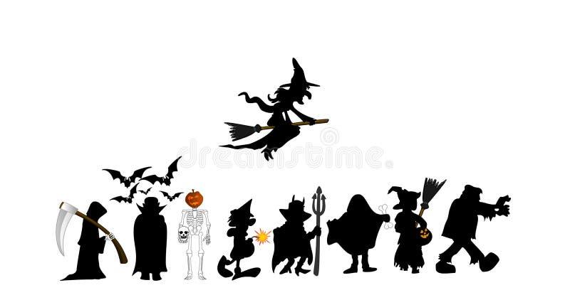 Les costumes de Halloween silhouettent sur le fond blanc illustration libre de droits