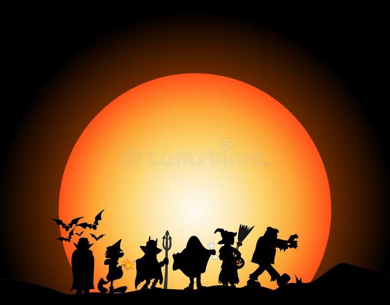 Les costumes de Halloween silhouettent sur le fond foncé avec la lune illustration de vecteur