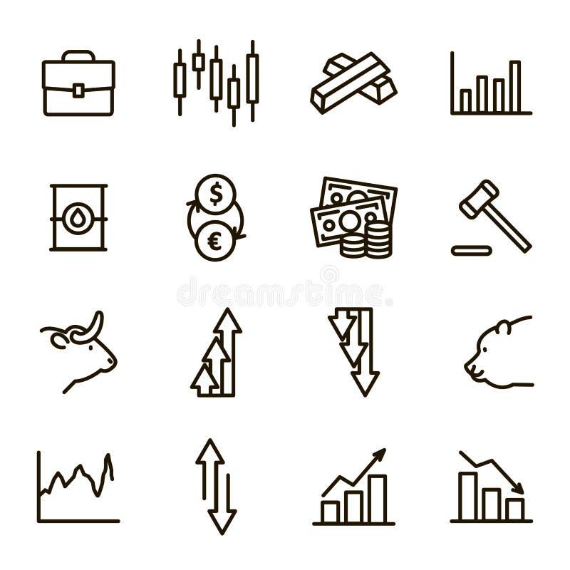 Les cotes signent la ligne mince noire ensemble d'icône Vecteur illustration libre de droits