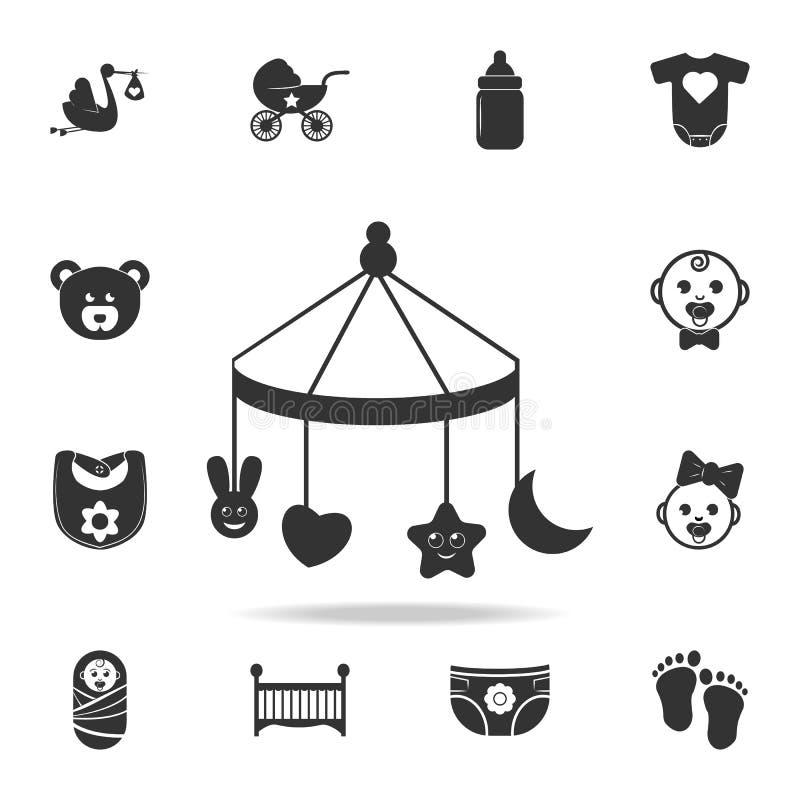 Les couches-culottes des enfants, un jouet au-dessus de l'icône de huche Ensemble d'icônes de jouets d'enfant et de bébé Concepti illustration libre de droits