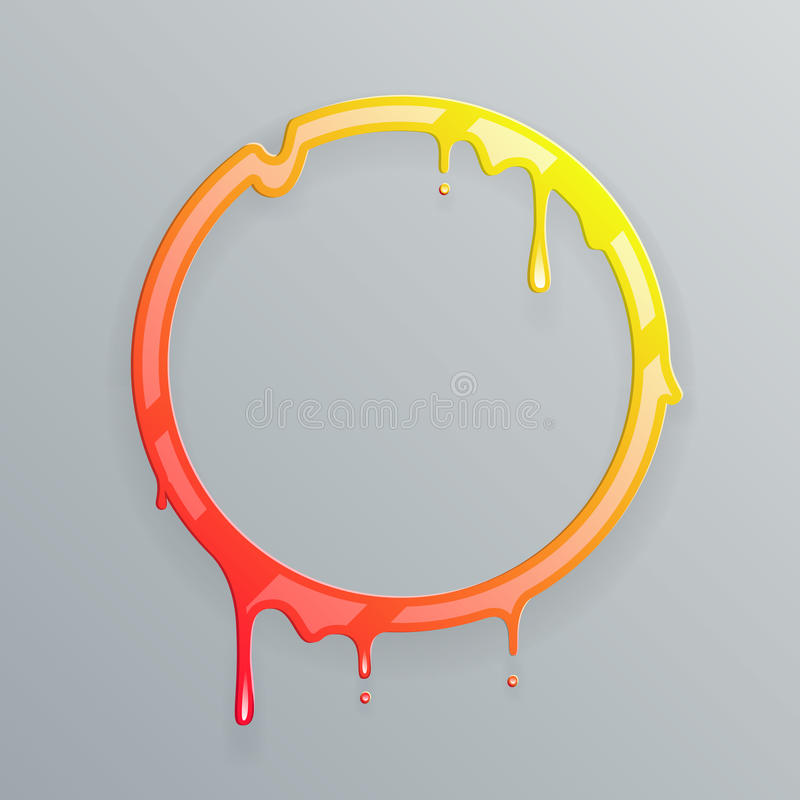 Les couleurs chaudes fondant la baisse débordante de cercle de flux d'art du cadre 3d coulent l'illustration abstraite de vecteur illustration libre de droits