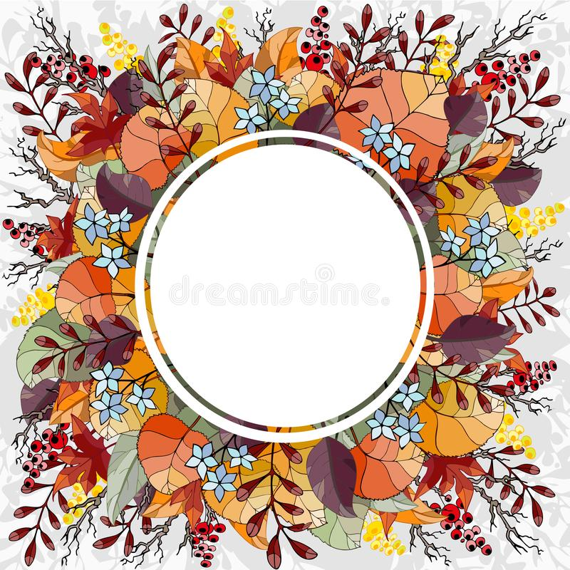 Les couleurs d'automne ornent le fond, parfait pour les cartes de voeux ou le signage au détail Illustration de vecteur image libre de droits