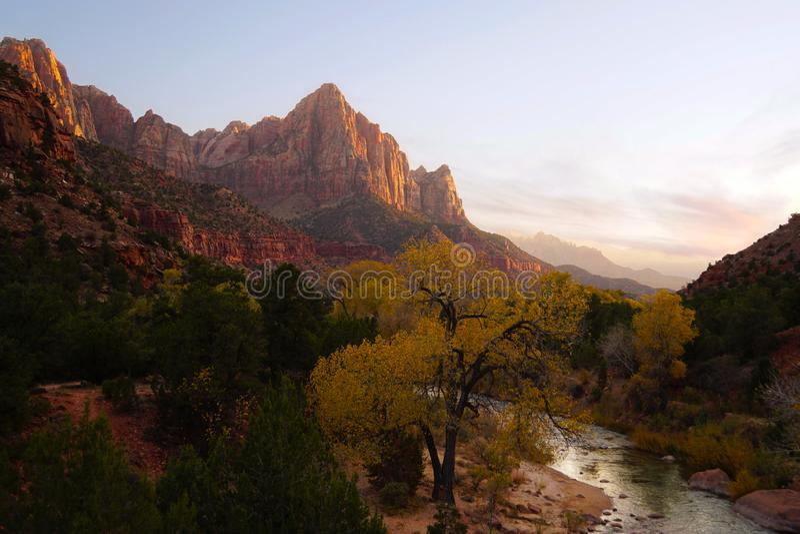Les couleurs de natures brillent dans Zion dans premier Autumn Evening photo stock