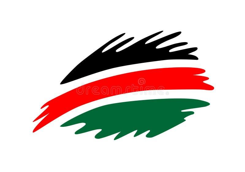 Les couleurs kenyanes de drapeau dirigent la conception d'éclaboussure illustration stock