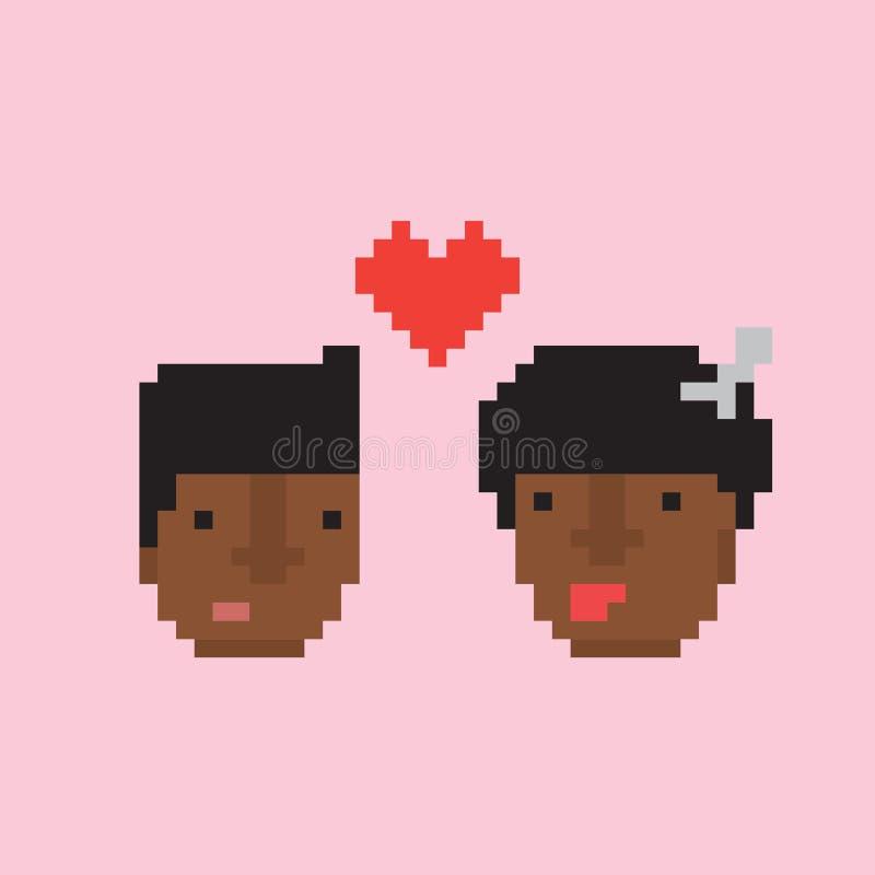Les couples afro-américains de style d'art de pixel dans l'amour dirigent l'illustration illustration stock