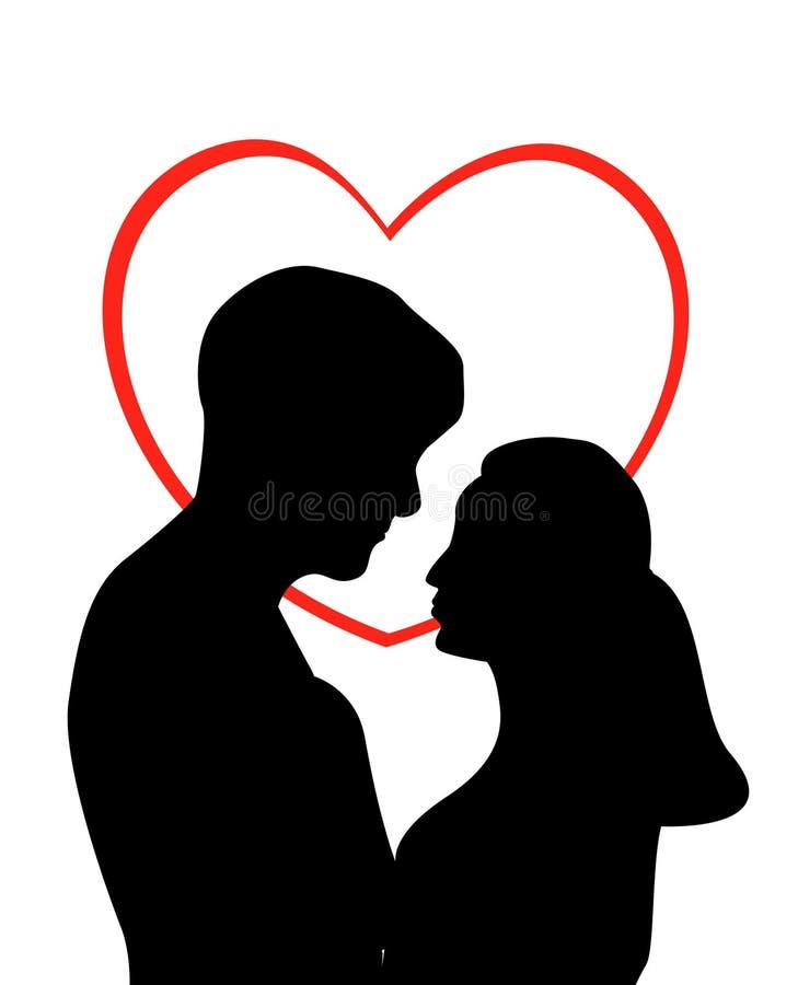 les couples aiment des jeunes illustration de vecteur