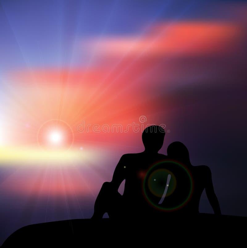 Les couples dans l'amour au coucher du soleil silhouettent sur la colline illustration libre de droits