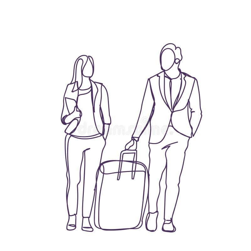Les couples de silhouette des gens d'affaires voyagent ensemble valise d'And Businesswoman With d'homme d'affaires illustration libre de droits