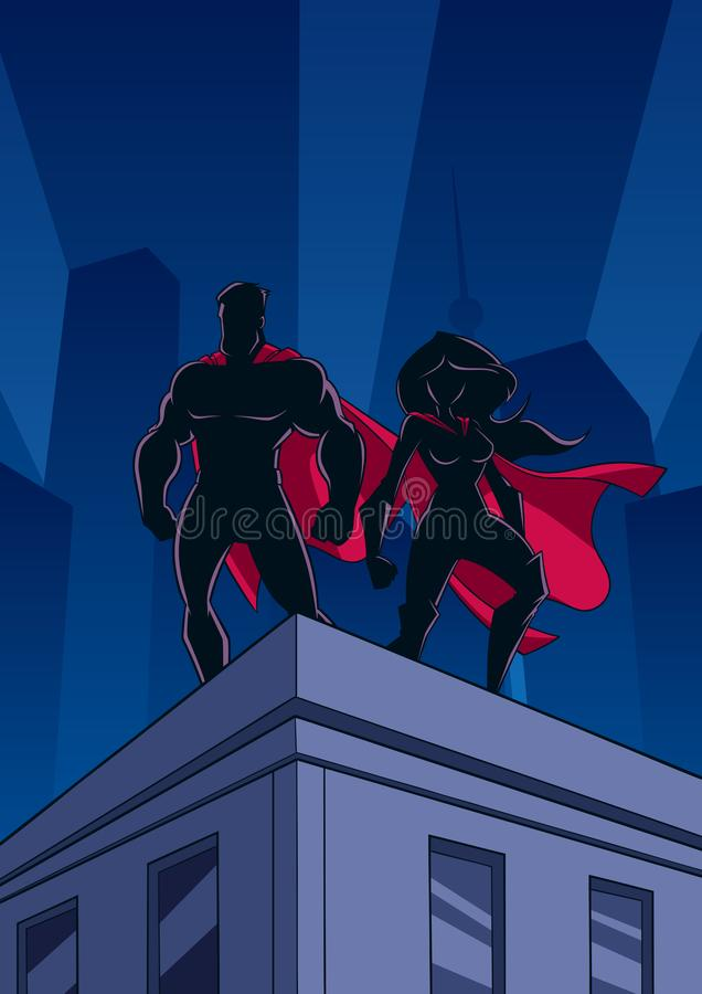 Les couples de super héros couvrent des silhouettes de montre illustration stock
