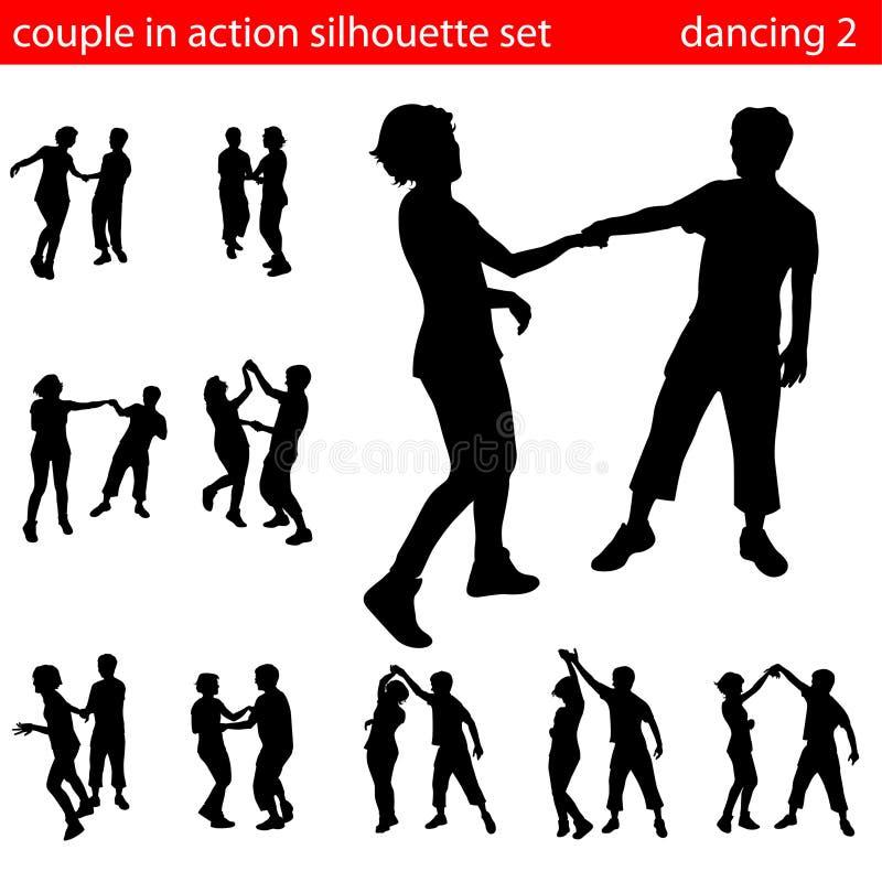 Les couples en silhouette d'action ont placé 2 illustration libre de droits