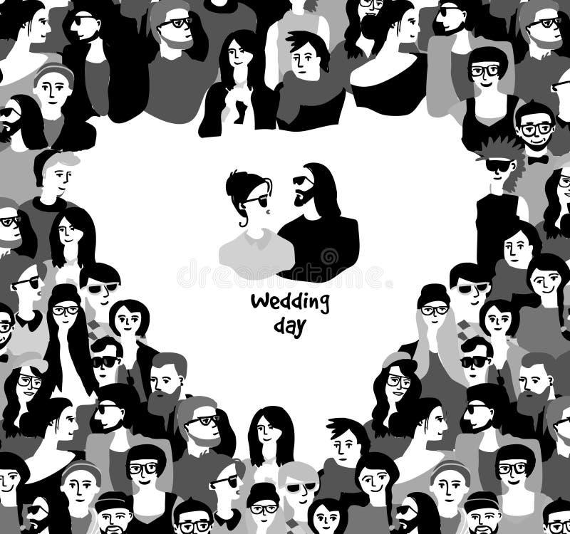 Les couples heureux de carte de jour du mariage encadrent le symbole de coeur noir et blanc illustration de vecteur