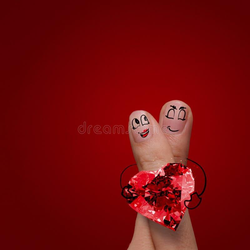 Les couples heureux de doigt dans l'amour avec le diamètre peint de smiley et de prise illustration stock