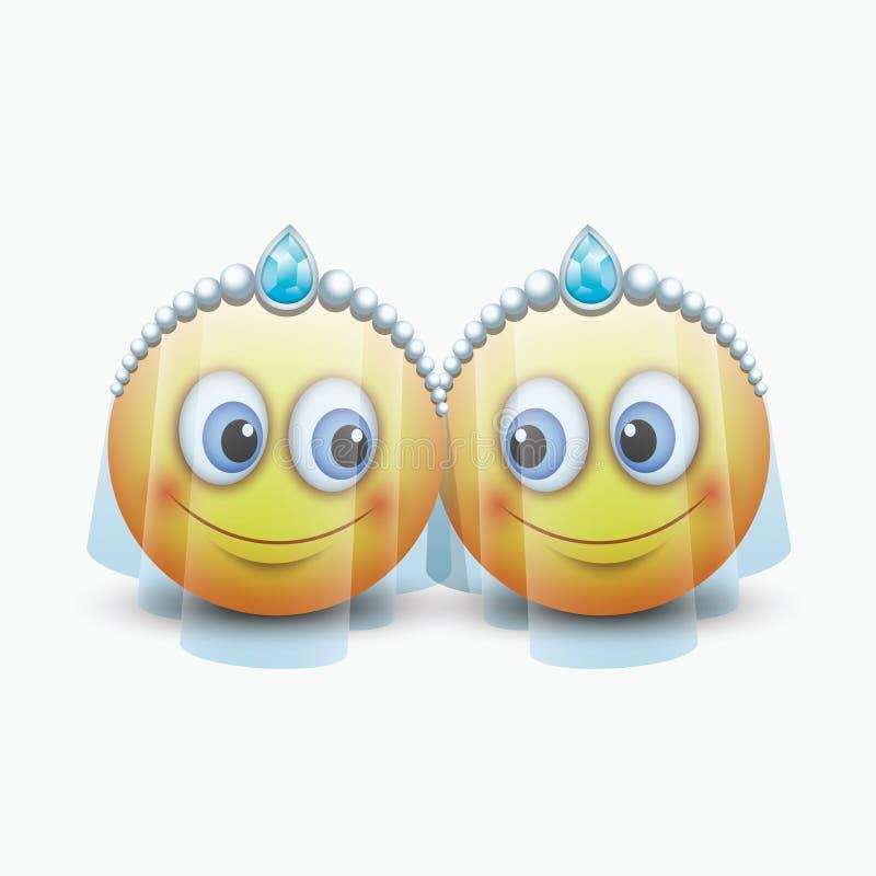 Les couples mignons des émoticônes obtenant mariés - emoji - dirigent l'illustration illustration stock