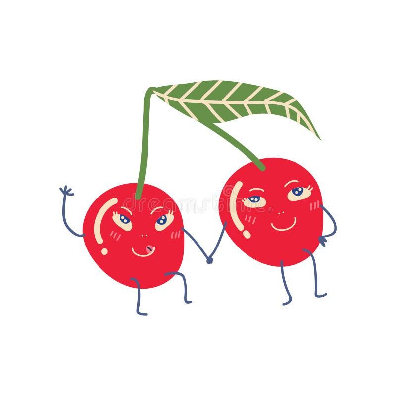 Les couples mignons des cerises mûres tenant des mains, les personnages de dessin animé drôles adorables de fruits dirigent l'ill illustration stock