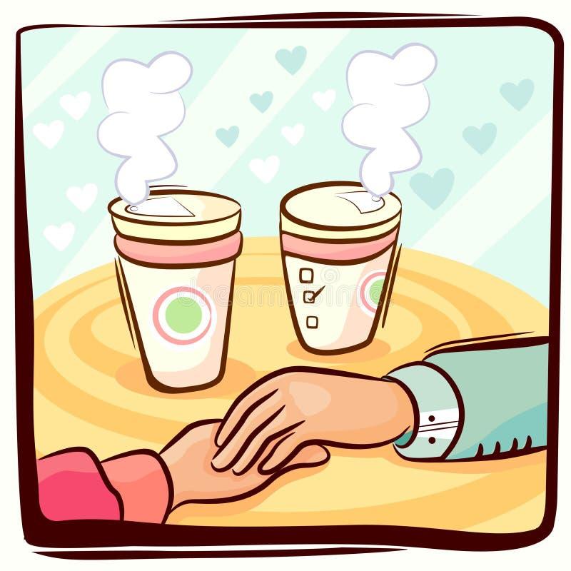 Les couples remettent et café illustration stock