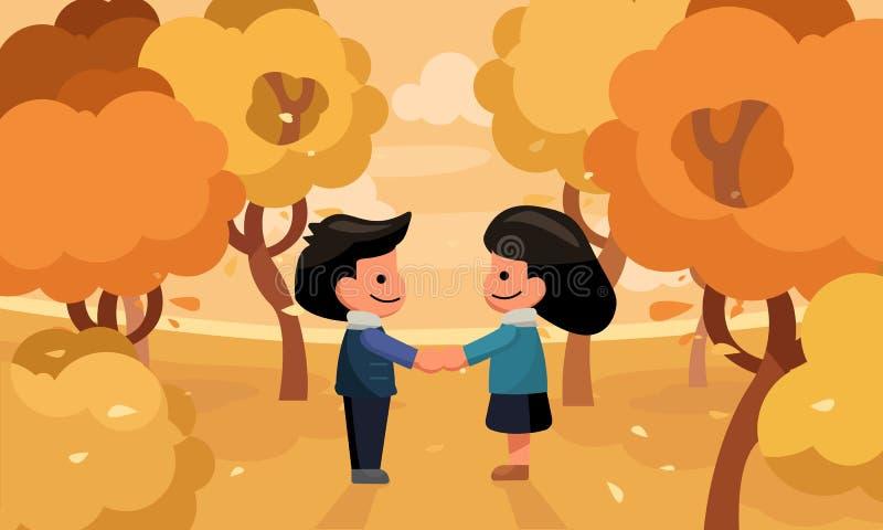 Les couples remettent se tenir dans le jardin Saison d'automne illustration de vecteur