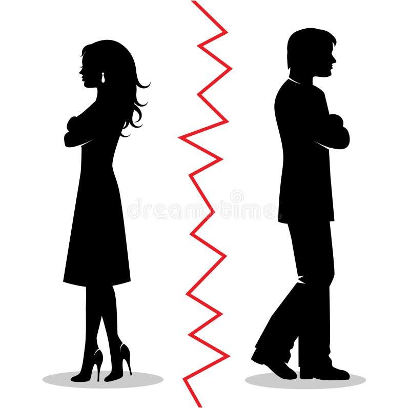 Les couples se sont disputés et ont tourné à partir de l'un l'autre illustration stock