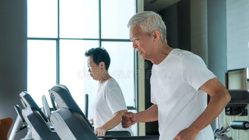 Les couples supérieurs asiatiques sains s'exercent ensemble dans le tre courant de gymnase image libre de droits
