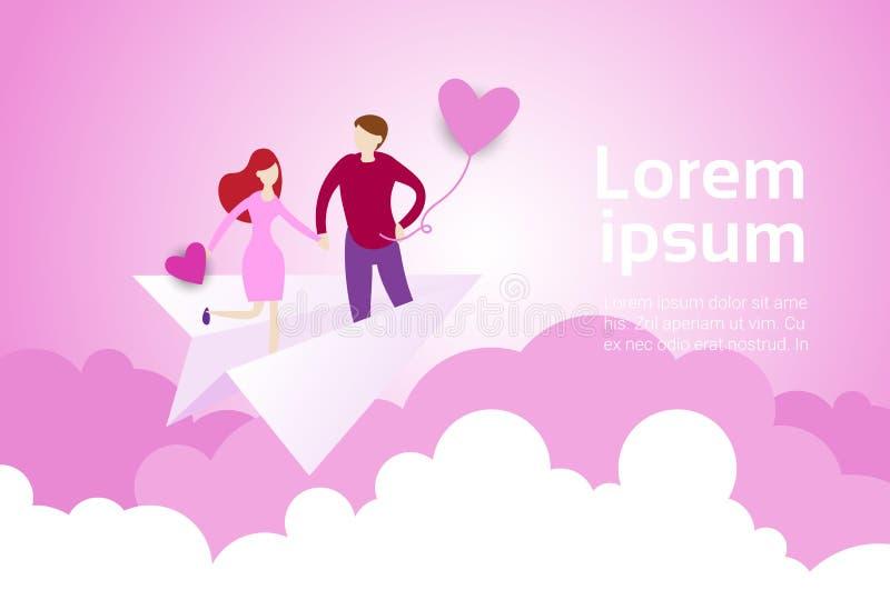 Les couples tenant des mains volent sur l'avion de papier au-dessus du fond de nuages de rose avec l'espace Valentine Day Banner  illustration stock