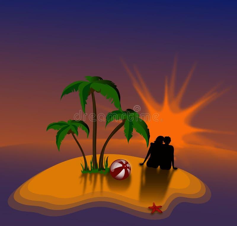 Les couples voient sur un coucher du soleil illustration stock