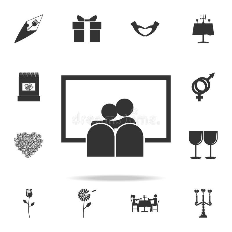 Les couples voient une icône de film Icône d'élément d'amour ou de couples Ensemble détaillé de signes et éléments des icônes d'a illustration stock
