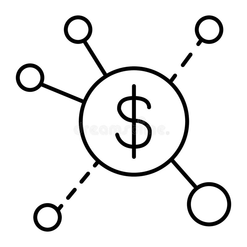 Les courants de revenus amincissent la ligne icône Illustration de vecteur de diffusion du dollar d'isolement sur le blanc Concep illustration stock