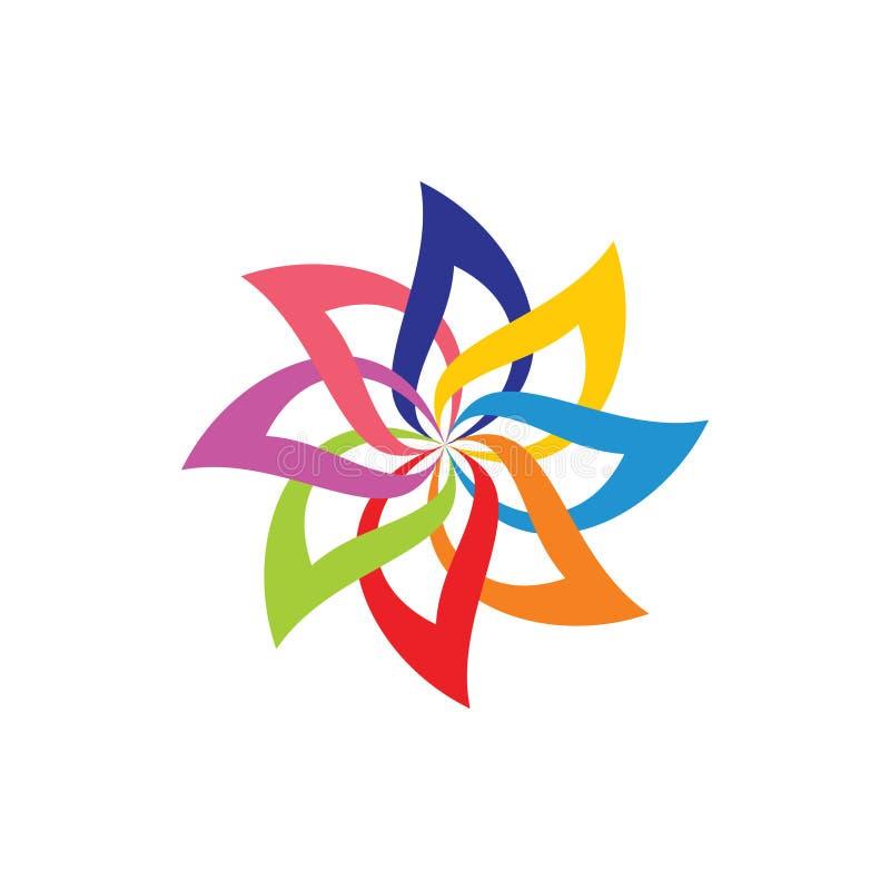 Les courbes colorées de cercle objectent le vecteur de décoration illustration libre de droits