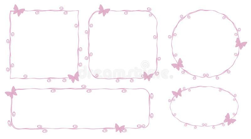 Les courbes de niveau roses minces d'ensembles de cadre de princesse beauté avec de petits papillons roses courbe ci géométrique  illustration de vecteur
