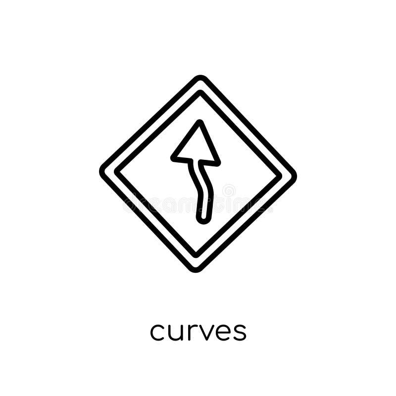 Les courbes signent l'icône Le vecteur linéaire plat moderne à la mode courbe le signe i illustration libre de droits