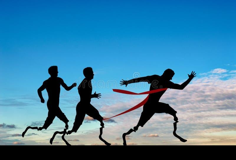 Les coureurs de Paralympics avec prosthétique concurrencent jour image libre de droits