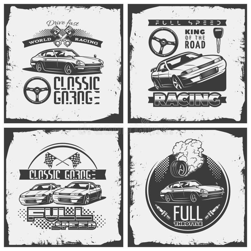 Les courses d'automobiles ont détaillé l'ensemble d'emblème copie avec la texture grunge photo libre de droits