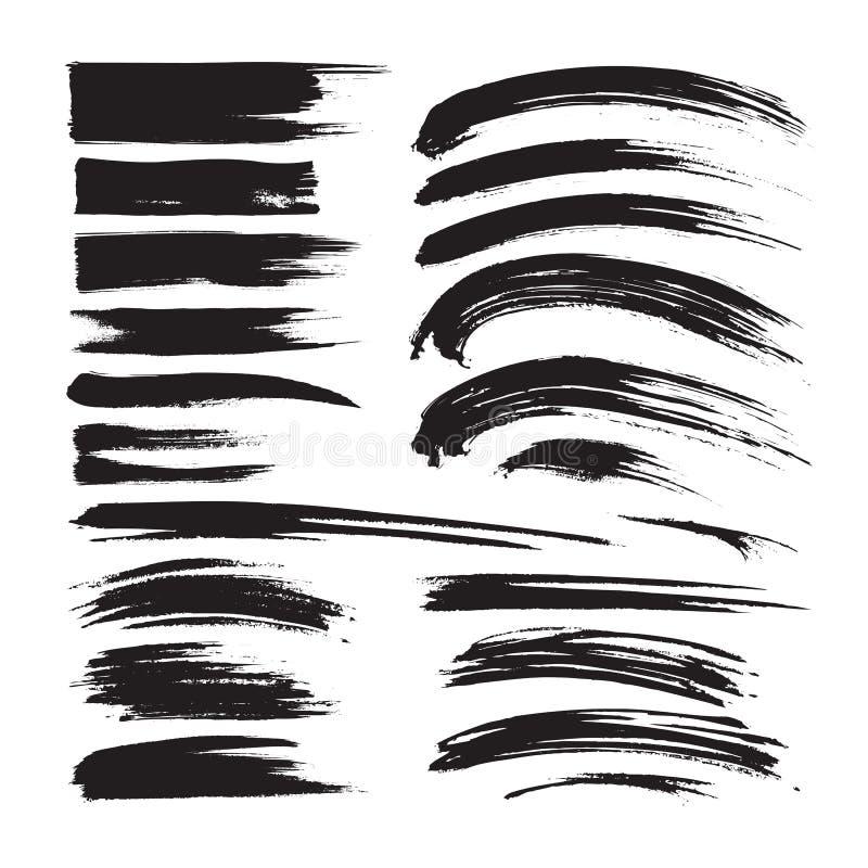 Les courses de brosse encrent la peinture noire - ensemble créatif ?l?ments artistiques sales de conception Illustration de vecte photos libres de droits