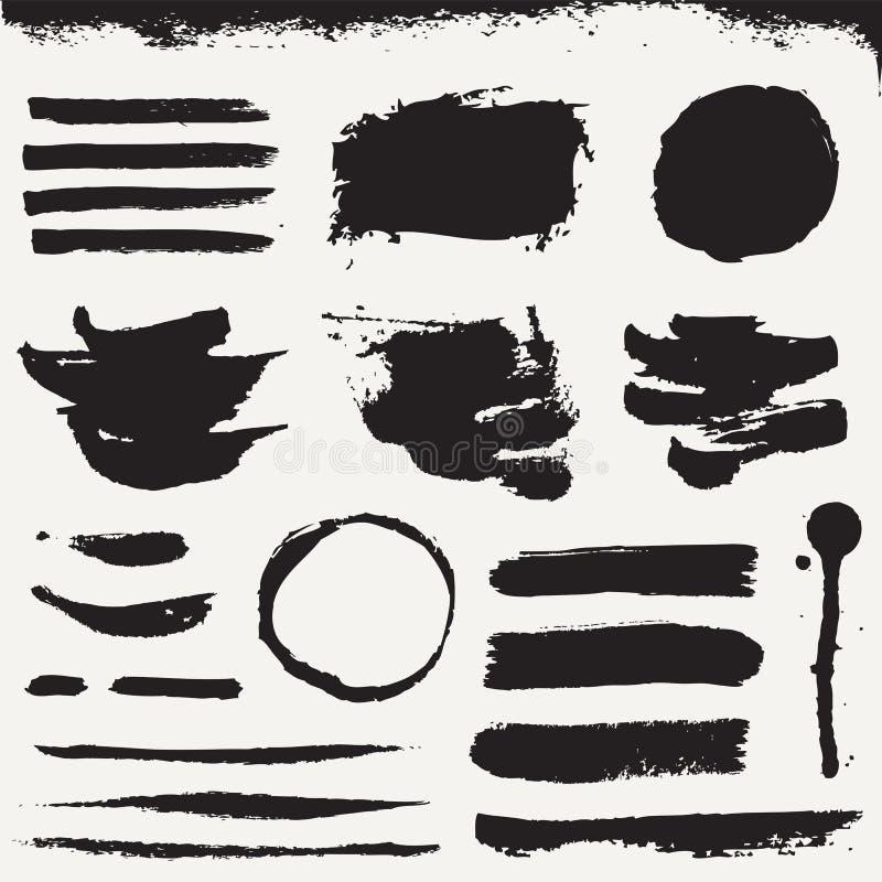 Les courses de pinceau et les taches grunges Collection de vecteur illustration stock