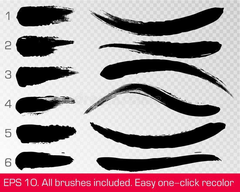 Les courses grunges noires de brosse ont placé d'isolement sur le fond transparent blanc Peinture d'encre Dessin-modèle de vecteu illustration stock